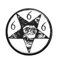 Pentagram s třemi šestkami - button
